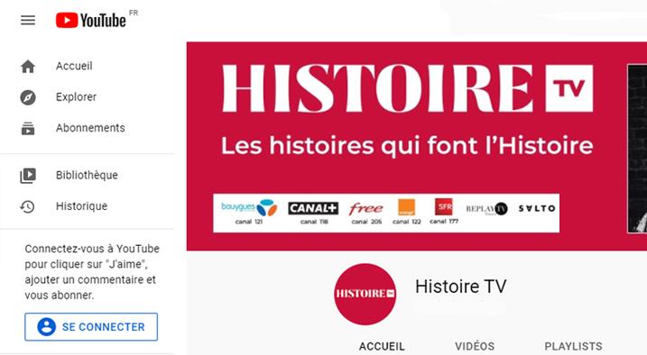 Chaine YouTube Histoire TV